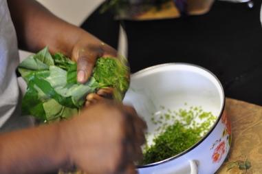 Secret slices potato leaf stems and leaves
