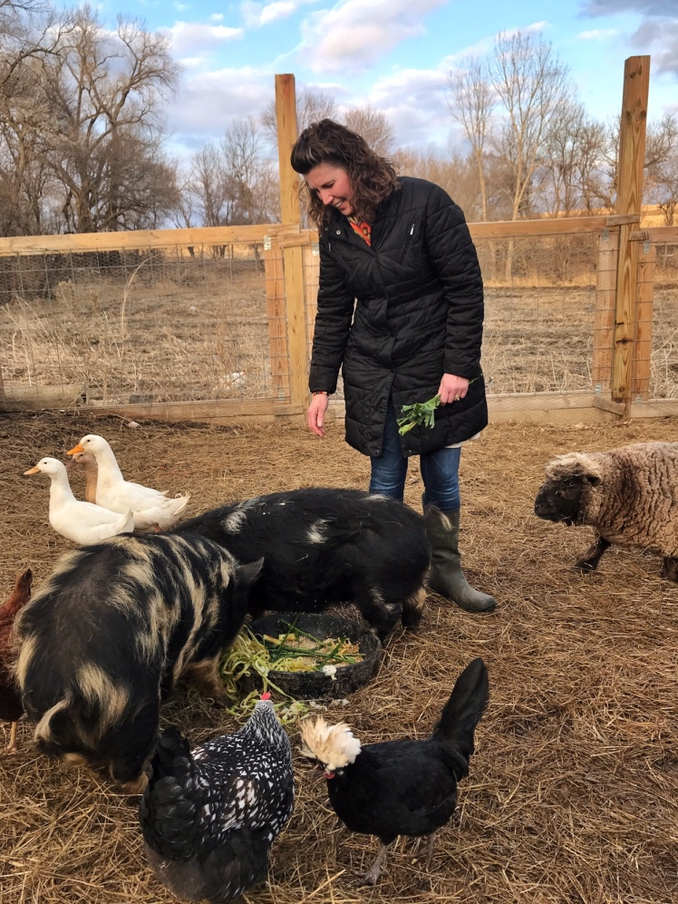 Our friend Rhonda comes over for a meal, fellowship and time with the farm animals. Friends like her remind us of the blessings God provides us everyday.