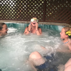 Despite 90 degree days, the kids wanted to finish the night with the hot tub.